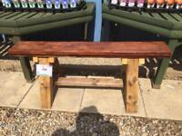 Mahogany topped chunky bench - recycled wood