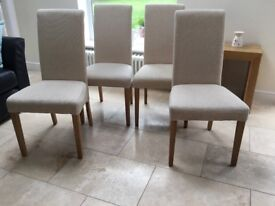 4 x Oatmeal Upholstered Dining Chairs