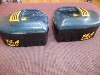 2 X Ryobi 14.4 V sliding batteries FOR SPARES OR REPAIR