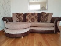 3 seater sofa with detachable foot stool.