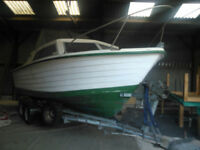 Teal 22 Cabin Cruiser Fishing Boat, roller trailer, perkins 2.0 TD engine, volvo penta leg may split