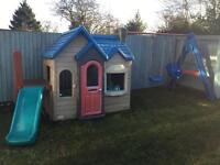 Little Tykes Outdoor Playhouse with Swings and Slide