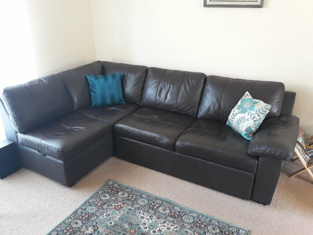 Brown Leather Corner Sofa Bed With Storage In Chaise In