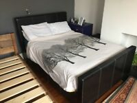 FREE - Black leatherette divan double bed (needs a repair)