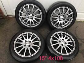 """15"""" 4x108 Alloy Wheels"""