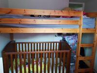 Solid pine high sleeper/loft bed