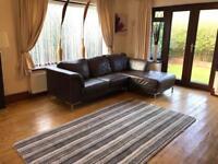 Brown Leather Corner Sofa Chrome Feet Good Condition
