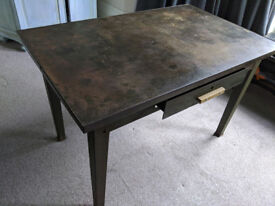 Antique / Vintage Metal Military Dining Room Table / Office Desk