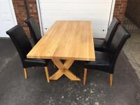 Solid oak table and chairs (delivery available)