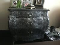 For sale: Black Silver vintage embossed chest of drawers/ dresser, Shabby Vintage,Retro Chic
