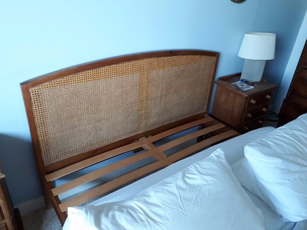 Uk King Size Bed With Rattan Headboard Mattress Available Free
