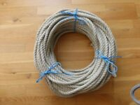 Synthetic fibre boating rope 12mm cross section natural look, sand colour and soft to handle.