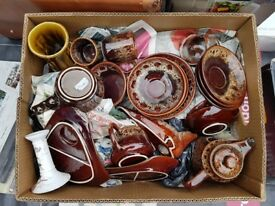 Box containing Cornish plus other pottery