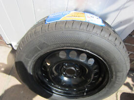 """VAUXHALL ASTRA SPARE 15"""" STEEL WHEEL RIM 4STUD AND NEW TYRE 195/65/R15 91H BRISTOL BS9"""