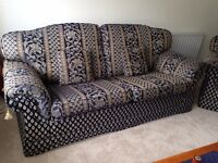 Quality 3 piece sofa with cushions and footstool in great condition