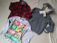 Boys clothes bundle age 5-6 Minions Christmas top + Brand NEW hoodie + chequered shirt WILL POST