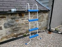 Plastic coated steel boat ladder with plastic steps
