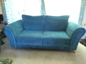4 seater & 2 seater fabric sofas in Teal