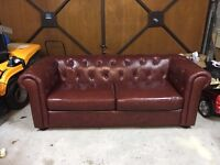 Chesterfield 3 seater sofa & x2 Arm chairs.
