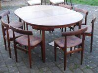 Frem Røjle Danish Teak Dining Table 8 Chairs Table by Hans Olsen 1960s