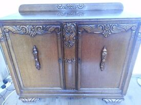 Sideboard - solid wood, with drawers and lockable outside doors