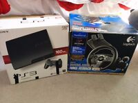 Ps3, 160GB, games, steering wheel and pedals!