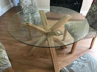 Solid wood and glass table
