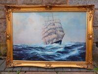 Stunning Large Antique sea scape / nautical / ship sail / Marine /