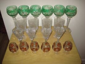 Selection of 20 Top Quality Cut Glass Wine And Liquor Glasses.