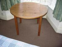 Solid Pine Round Table on detachable legs