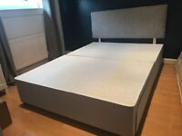 Grey Double Divan Bed With 2 Storage Drawers