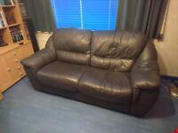 Dark Blue Leather Sofa (Almost Black)
