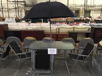Garden Table with Parasol and 6 Chairs