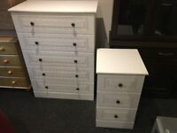 WHITE VENEER 5 DRAWER CHEST METAL HANDLES
