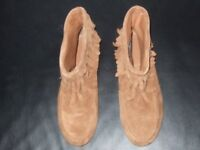 NEXT TAN SUEDE LADIES FLAT BOOTS WITH TASSELS - NON-SLIP SIZE 6