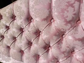 "Pink fabric buttoned double 4'6"" headboard"