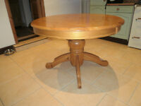Round Pine Pedestal Extending Dining Kitchen Table