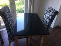 Black Granite Dinning Table & Chairs