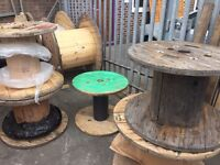 Wooden cable drums recliamed for up cycle various sizes