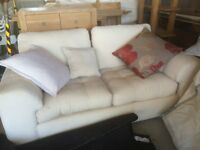 2 Seater Cream Upholstery Sofa with scatter cushions