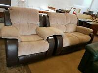 Modern brown leather and fabric reclining 2 seater and armchair suite