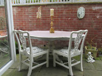 Dining table French chic style hand painted