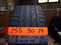 255 30 19 bridgestone runflat 6mm tread £45 sup & fittd(LOADS MORE AV 7-DAYS)