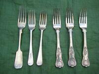 Set of 6 Various Vintage Full Size Fish Forks for £3.00