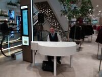 Pianist for weddings & events with Piano Shell (White or black)