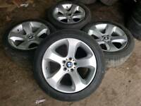 "GENUINE BMW 19"" ALLOY WHEELS & TYRES 5X120 X5 X4 X3 MSPORT 3 SERIES"