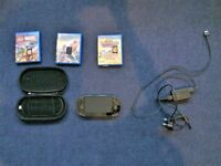 PS Vita in excellent condition sold with Hard case, charger and 3 games