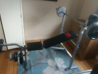 Weights bench with barbell and 33kg weight plates
