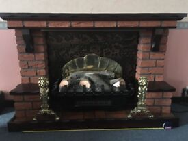 Retro 80s red brick fireplace surround and electric fire