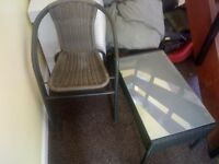 2 patio chairs and coffee table, hardley used